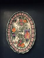 SKYROS signed K.N. Hand Painted Floral Wall Plate Greece - Pottery