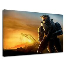 Master chief with gun in halo 3 digital art Canvas Wall Art Picture Print