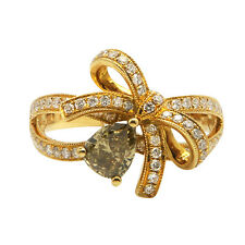 18K YELLOW GOLD FANCY CHAMPAGNE PAVE HALO ENGAGEMENT DIAMOND COCKTAIL BOW RING