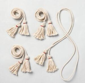 Hearth & Hand with Magnolia Holiday Gift Wrap Tassel Cord Set Cream/Red 4 Pk NIB