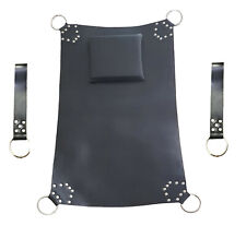 Heavy Duty Play Room Black Leather Sex Swing Adult Sling With Leg Straps