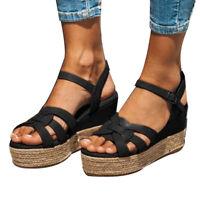 Summer WomenS Platform Sandals Buckle Strap Espadrille Casual Open Toe Shoes HOT