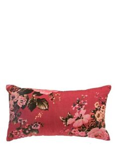 Victorian Trading Co Beau Bouquet Raspberry Pink Velvet Floral Cushion Pillow