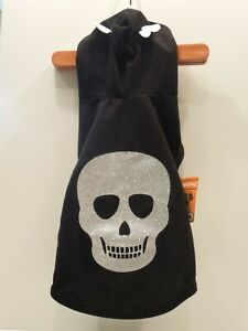 """NWT """"2"""" HALLOWEEN COSTUMES SIMPLY DOG/CAT SMALL SKULL & FANGSTASTIC HOODIE"""