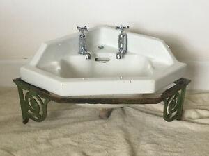 Antique Twyfords Corner Basin Cast Iron Stand Sink Original Taps