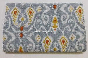 Twin Size Indien Handmade Cotton Ikat Print kantha Blanket Quilt Throw Bedspread