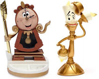 2021 Disney Cogsworth Figurine With Pen And Lumiere Light Up Figurine Set 2 New