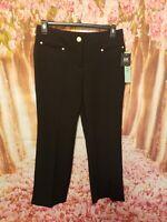 Anne Klein Size 10P Petite Black Pleated Business Casual Dress Pants 33x28