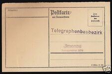Antwortpostkarte ungenutzt, Telegraphenbaubezirk Ilmenau, 1923
