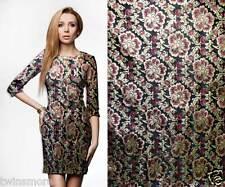 metallic flower motif black gold Asian brocade faux silk fabric material gp-620