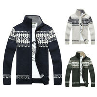 Men's Casual Warm Knit Cardigan Jacket Slim Fit Long Sleeve Casual Sweater Coat