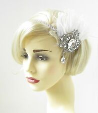 White Silver Feather Headpiece 1920s Headband Flapper Great Gatsby Diamante A302