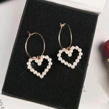 Korean Womens Circle Hoop Ear Stud Heart Pearl Drop Dangle Earrings Jewelry