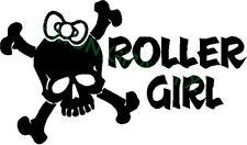 Roller Girl vinyl decal/sticker derby girl skull crossbones bow