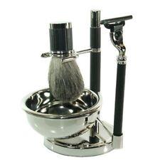 Bey-Berk 4pc Shaving Set- Black & Silver Plated #BB22 New in Retail Box