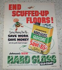 1953 ad page -Johnson's Glo-Coat floor wax - cute BEE vintage ADVERT Advertising
