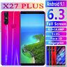 X27 Plus Unlocked Smart Phone 6.3 '' Android 9.1 HD Dual SIM Call Mobile Phone