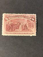 US Scott #236 mint hinge rem 8c magenta Columbian 1893 og f/vf (F19).