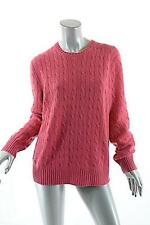 POLO RALPH LAUREN NWOT PINK 100% Cashmere Cable Crewneck Sweater Italian Yarn