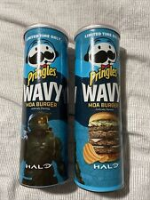 2 cans Pringles HALO LIMITED EDITION MOA burger Wavy chips