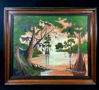 Vintage original framed  naive painting..American southern folk art bayou scene.