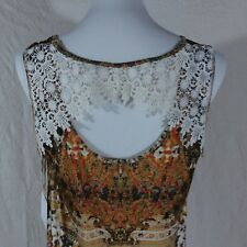 New World Unity Dress Slinky Embroidered Open Back Hi Lo Earth Tones Sz XL #BCC