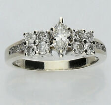 Diamond engagement ring 14K white gold marquise round brilliant 1.25CT 4.7G sz 8