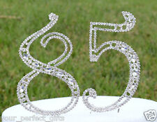 """5"""" Crystal Rhinestone Number 85 Silver Cake Topper Top 85th Birthday Party"""