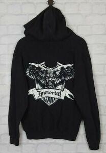 VINTAGE RETRO BLACK SKULL METAL BAND ROCK IMMORTAL TOUR HOODIE SWEATSHIRT JUMPER