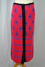 VINTAGE 1980s TOPSHOP pink floral striped knit skirt 3/4 midi length size 12