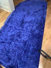 """Vtg Fringed Dark Royal Blue Crushed Velvet Bedspread 94"""" x 105"""" Full/Double 60's"""