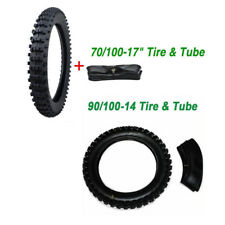 Motorcros Tyre Set Front & Rear 70/100-17 + 90/100-14 +Inner Tubes Off Road Only