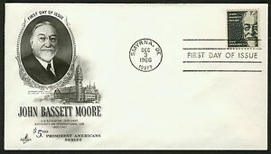 #1295 $5 John Bassett Moore, Art Craft FDC **ANY 4=FREE SHIPPING**