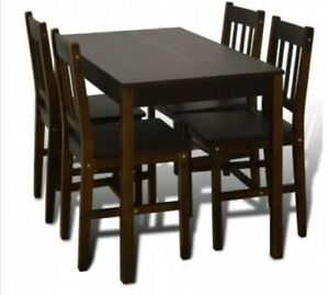Small Wooden Dark Brown Dining Table And 4 Chairs Set Kitchen Rustic Pine Home