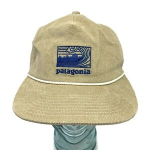 🔴 Vintage Patagonia Corduroy Snapback Trucker Hat Piping Beige Embroidered