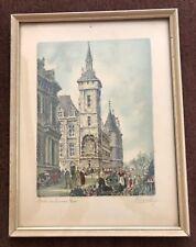 Vintage French Framed Print Barday Paris Le Quai Aux Fleurs Signed
