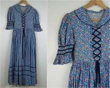Vintage Bicentennial Colonial Costume Women's Blue Floral Lace Front Dress