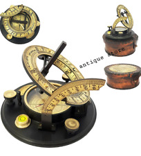 J. H. Steward L'' Strand London Nautical Brass Sundial Compass With Leather Case