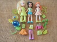 "Polly Pocket ""Colors of the Rainbow"" Green Lot Big Feet Dolls Modern Pet 5-81"