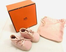 Authentic HERMES Baby Girl Infant Pink Lace Booties With Box & Dustbag - FRANCE