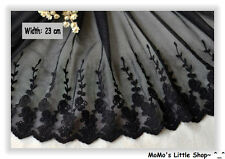 Beautiful Black Floral Embroidery Tulle/Mesh Net Lace Trim/Edging (23 cm) -- 1 M