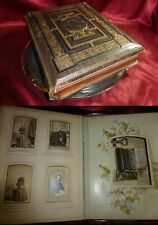 Antique 1899 VICTORIAN MUSICAL PHOTO ALBUM. Leather, full CDVs Cabinets. Working
