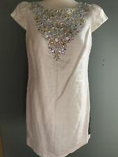 marks and spencer White/ Silver Embellished Cap Sleeve Shidt Dress Size 14