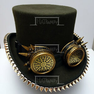 VINTAGE STEAMPUNK Top Hat with Goggle and Rivets Costume Men Victorian Olive D
