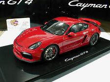 GT-Spirit # Porsche Cayman GT4 mit Vitrine Baujahr 2015 karminrot 1:18 Lim. Ed.