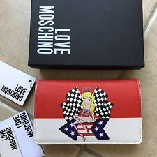 Portefeuille MOSCHINO Rouge Blanc Femme Neuf Authentique