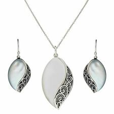 Silverly 925 Sterling Silver Mother of Pearl Marquise Earrings Necklace Set
