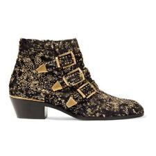 NIB Chloe Suzanna Black Gold Velvet Coupe Studded Short Ankle Heel Bootie 38