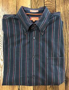 Mens Faconnable button down dress shirt Sz L black w red/gray stripes