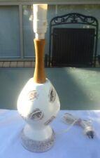 VINTAGE RETRO MID CENTURY TEAK & CERAMIC TABLE LAMP
